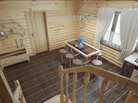 logs: The flight of stairs in the kitchen dining room log cabin interior. Wooden stairs to the second floor in a wooden house. 3D render.