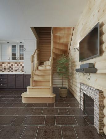 madera rústica: El tramo de escaleras en el interior de la cabina de registro cocina comedor. escaleras de madera para el segundo piso en una casa de madera. render 3D.