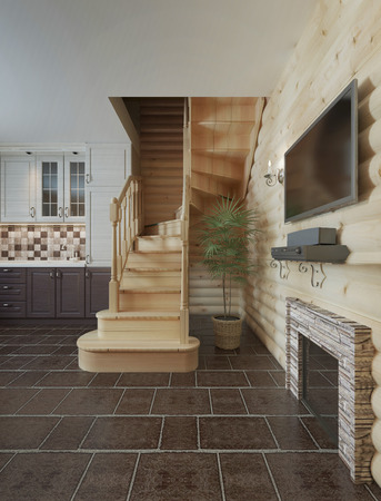 second floor: The flight of stairs in the kitchen dining room log cabin interior. Wooden stairs to the second floor in a wooden house. 3D render.
