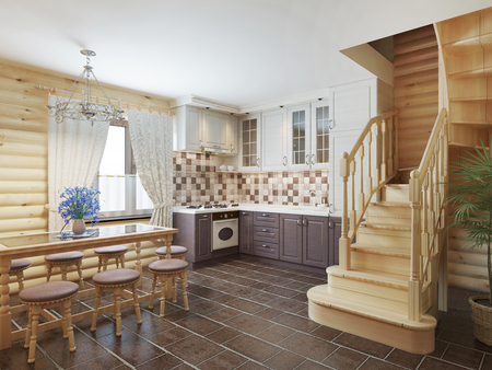 Kitchen and dining area in a log interior staircase to the second floor and a fireplace. 3D render. Stock Photo