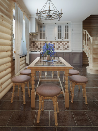 table and chairs: Dining table and chairs by the window in the interior of a log style. 3D render.