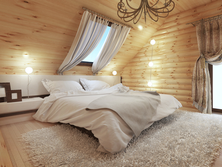 logs: Bedroom interior in a log on the attic floor with a roof window. Large bedroom with bedside tables and a shaggy carpet. Bedroom in modern style. 3D render.