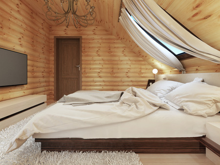 cottage: Luxurious bedroom in modern style, with a roof window in the log house. TV with a media console. 3D render. Stock Photo