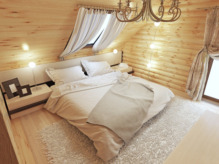 country house style: Bedroom interior in a log on the attic floor with a roof window. Large bedroom with bedside tables and a shaggy carpet. Bedroom in modern style. 3D render.