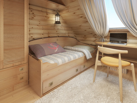 log house: Bed and desk in the childrens room in a log house in the attic in a nautical style. 3D render.