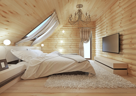 Luxurious bedroom in modern style, with a roof window in the log house. TV with a media console. 3D render. Stockfoto