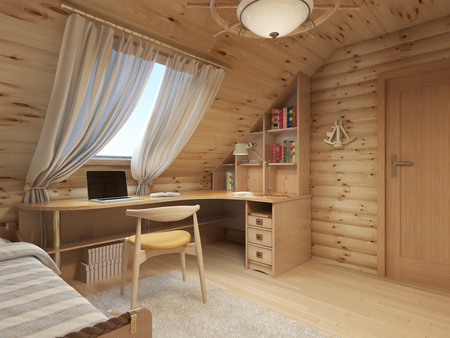 wood room: Log interior room for a teenager from the timber in a marine style and decor. Shelving for books with a work desk and a bed of wood. 3D render.