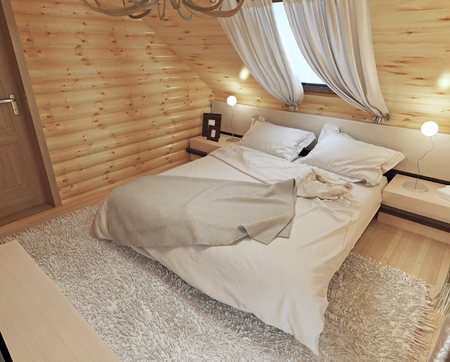 bedside tables: Bedroom interior in a log on the attic floor with a roof window. Large bedroom with bedside tables and a shaggy carpet. Bedroom in modern style. 3D render.