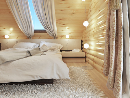bedside tables: Bedside tables with lamps and a floor lamp in the modern bedroom. Bedroom interior in a log house. 3D render.