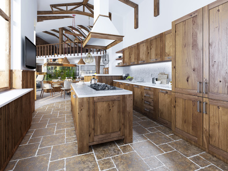 The large kitchen in the loft style with an island in the middle. Wooden furniture with white worktops and mosaic with integrated appliances. Kitchen smoothly into the living room. 3D render.