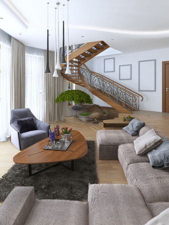 corner house: Living room with a large corner sofa from a fabric in a Contemporary style. Design spiral staircase leading to the second floor. Soft armchair with a modern floor lamp and a low table with decor. Large windiws. 3D render