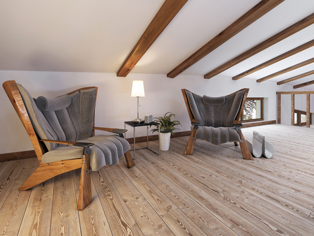 roof beam: The attic floor with a seating area with designer chairs and a low table lamp in a loft style. Ceiling with wooden beams and white painting. 3D render. Stock Photo