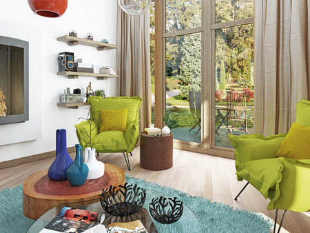 sitting area: Contemporary living room with a sitting area with two chairs. Comfortable chairs in the style of kitsch green color with a coffee table and floor lamp white. 3D render.
