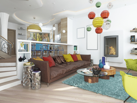 Luxury Large Living Room In The Style Of Kitsch. Contemporary Living Room  With Large Leather