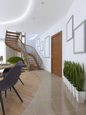 second floor: The corridor leading to the spiral staircase to the second floor. On the floor in the corridor on the floor vases in white pots. 3D render.