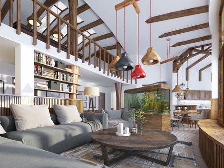 Interior de la sala de estar, estilo loft. Dúplex una moderna sala de estar con una sala de billar en la casa grande. Acuario y estilizada estanterías para libros. 3D rinden