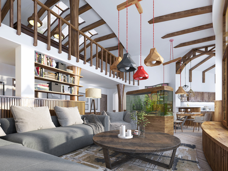 Interior living room, loft style. Maisonette a modern living room with a billiard room in the big house. Aquarium and stylized shelving for books. 3D render Foto de archivo