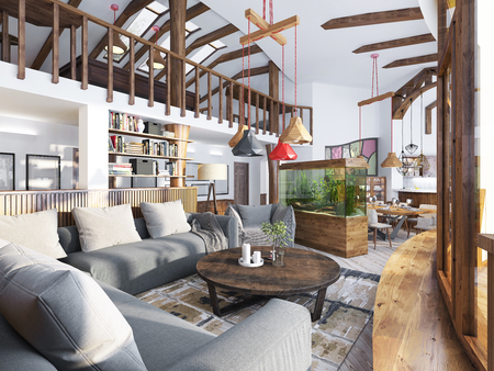 high ceiling: Large living room studio with a kitchenette and a balcony in an organic style. Organic Architecture in interior design. 3D render.