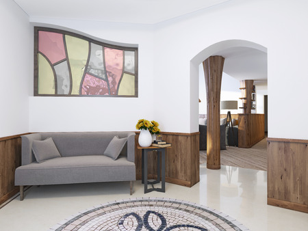 high ceiling: Hall home in a loft style with a high ceiling with lighting. The floor mosaic and marble tiles. Against the wall with a low sofa table. 3D render.