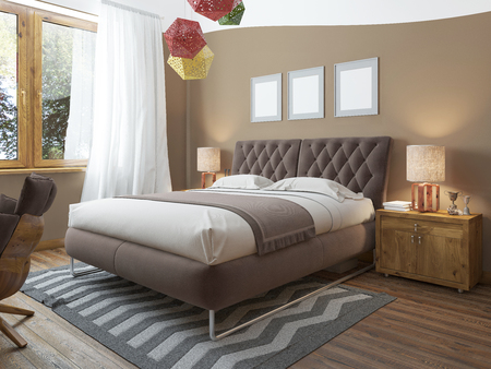 floor level: Luxury bright bedroom in the loft. The bedroom brown walls and white ceiling. Quilted headboard and above him three paintings in mockup poster style. The brown wooden floor and gray striped carpet. At the second level balcony. 3D render