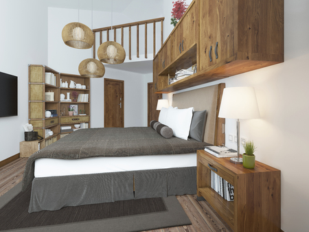 bedside tables: Large bright bedroom in the loft. Above the bed hang shelves closed and bedside tables with decorations. Furniture in rustic style. 3D render.