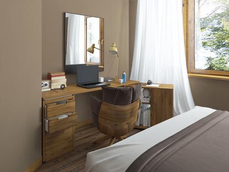 Bureau dans une chambre moderne bois massif avec une pièce jointe