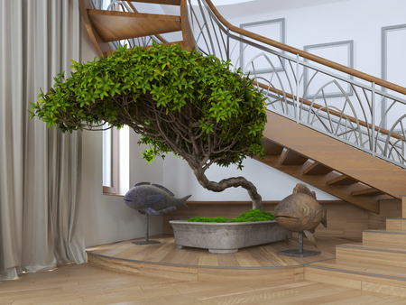 zen interior: Bonsai tree in the interior of a private house with decorative statues around. 3D render.