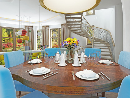 Luxe eetkamer met eettafel en designstoelen houten tafel en