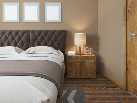 headboard: Wooden bedside tables with expressive textures in a modern bedroom. On the bedside table lamps in a rustic style decor. Headboard quilted brown. The bedroom in the loft. 3D render.
