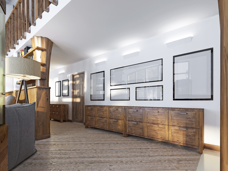 wall paintings: The corridor in a loft-style with wood paneling and paintings on the walls. Against the wall are covered with wooden console patina. 3D render.