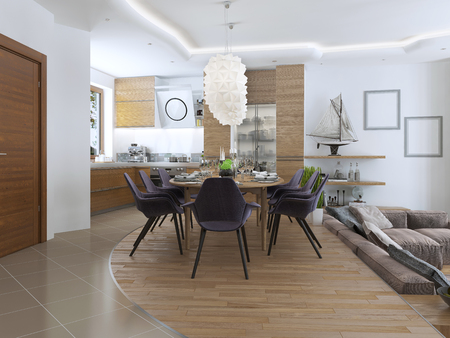 upholstered: dining kitchen design in a modern style with a dining table and kitchen furniture. Wooden furniture in bright colors, the chairs are upholstered with cloth eggplant color. Beautiful designer chandelier over the table. 3D render.