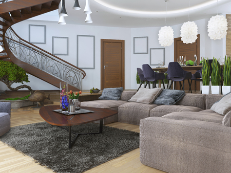 interior wall: Living in a modern style with a spiral wooden staircase to the second level. Along the walls hang posters mockup. Under the stairs a green area with a bonsai. 3D render