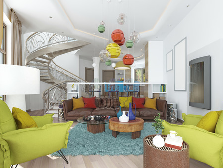contemporary living room: Luxury large living room in the style of kitsch. Contemporary living room with large leather, brown sofa with colorful pillows and two green chairs with a fireplace. 3D render. Stock Photo