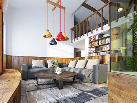 Modern living room in a loft style. Living room with corner sofa and wall with wood paneling and large windows. The original chandelier with shades of different colors. 3D render.