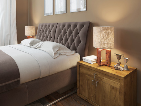 bedside lamps: Wooden bedside tables with expressive textures in a modern bedroom. On the bedside table lamps in a rustic style decor. Headboard quilted brown. The bedroom in the loft. 3D render.