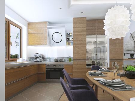 cucina moderna: Cucina moderna nella sala da pranzo in stile contemporaneo. facciate da cucina di legno chiaro con un cappuccio sopra la stufa e elettrodomestici da incasso. piano di lavoro in metallo. 3D render. Archivio Fotografico
