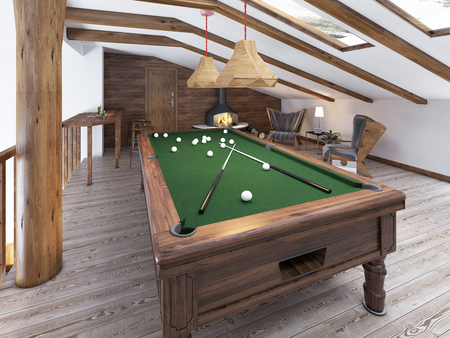 sitting area: Billiard room in the attic with sitting area and fireplace. Modern billiard room in the loft. Wooden pool table. 3D render.