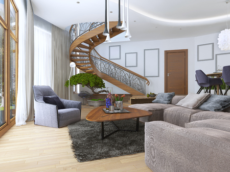 second floor: Living room with a large corner sofa from a fabric in a Contemporary style. Design spiral staircase leading to the second floor. Soft armchair with a modern floor lamp and a low table with decor. Large windiws. 3D render