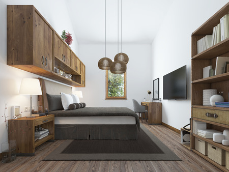 wooden railings: Large bedroom in modern style with elements of a rustic loft. Interesting solution with shelves above the bed and a balcony on the second level with wooden railings. 3D render. Stock Photo