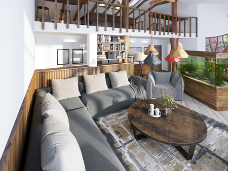 Large corner sofa in the living room luxury loft style, with wood paneled walls and a second level with a handrail. 3D render. Stock Photo