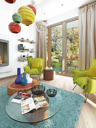 contemporary living room: Contemporary living room with a sitting area with two chairs. Comfortable chairs in the style of kitsch green color with a coffee table and floor lamp white. 3D render.