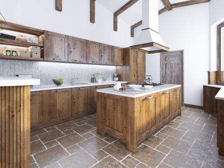 ロフト スタイルのモダンなキッチン。上にフード付きのアイランド キッチン。ファッション無垢材のキッチン。3 D のレンダリング。