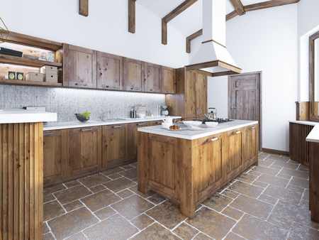 Modern kitchen in the loft style. Kitchen island with a hood over it. Kitchen of fashion solid wood. 3D render.