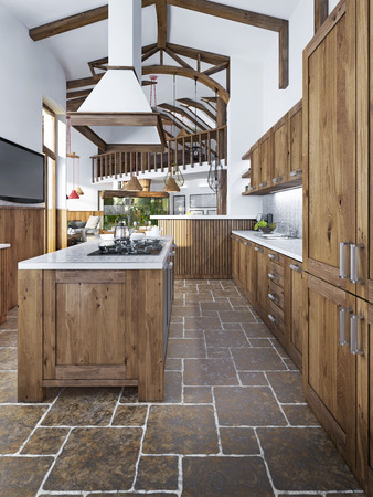 rustic kitchen: Large beautiful kitchen in a rustic style with an island and hood and built-in appliances. 3D render.