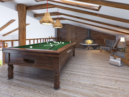 billiards room: Billiard room with two comfortable chairs and a fireplace in the loft style. Billiard room on the second level living area, with a handrail in a rustic style. 3D render.