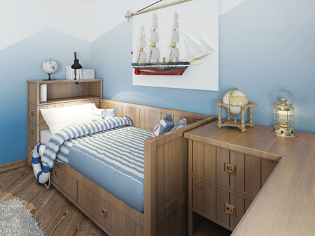 cor: Baby bed for a young teenager in a ship style with a lifeline and nautical d�cor. Modern interior of a childs room in a nautical theme. 3D render.
