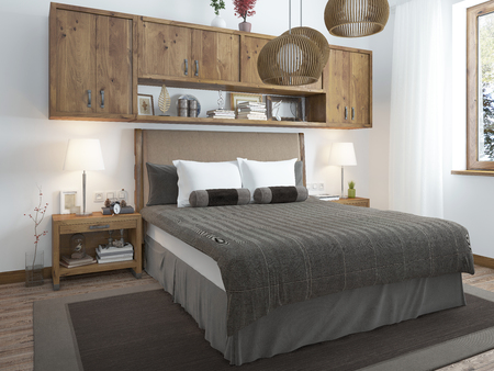 country house style: Large bright bedroom in the loft. Above the bed hang shelves closed and bedside tables with decorations. Furniture in rustic style. 3D render.