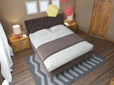 headboard: Luxury bright bedroom in the loft. The bedroom brown walls and white ceiling. Quilted headboard and above him three paintings in mockup poster style. The brown wooden floor and gray striped carpet. At the second level balcony. 3D render