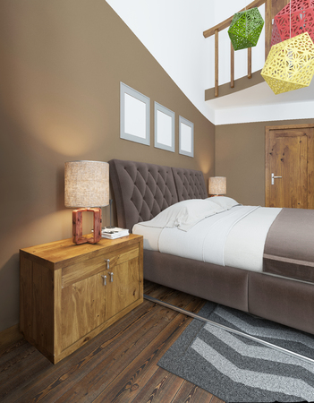 bedside tables: Modern bedroom in the style of Contemporary bedside tables with lamps shining on them. The bedroom has a dressing and a desk with a laptop and decor. with elegant wooden ceiling chandelier. 3D render.