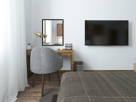TV hanging on the wall and desk in the bedroom in the loft. Fabric comfortable chair with a striped texture. 3D render.